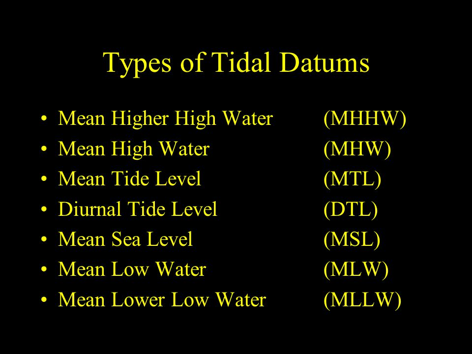 Types of Tidal Datums Mean Higher High Water (MHHW)