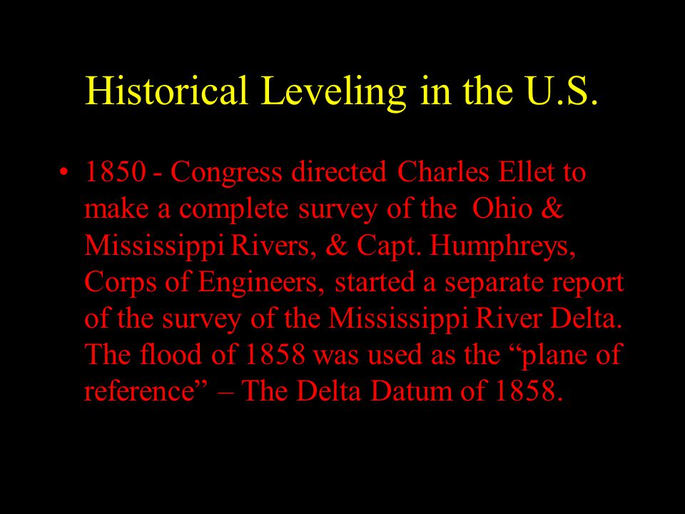 Historical Leveling in the U.S.