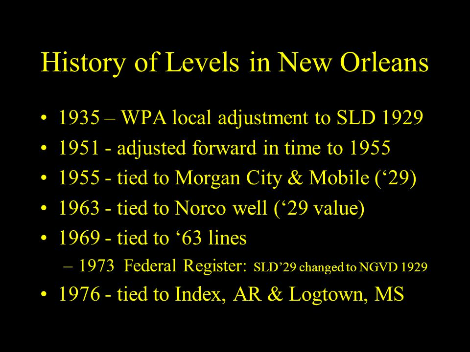 History of Levels in New Orleans
