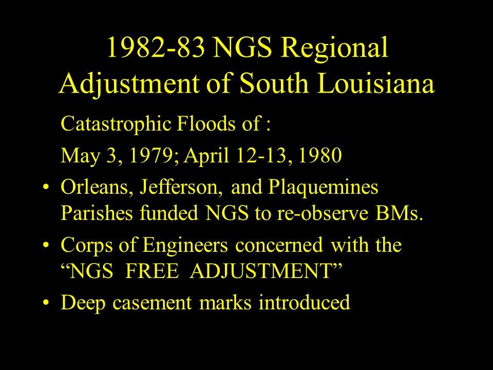 1982-83 NGS Regional Adjustment of South Louisiana