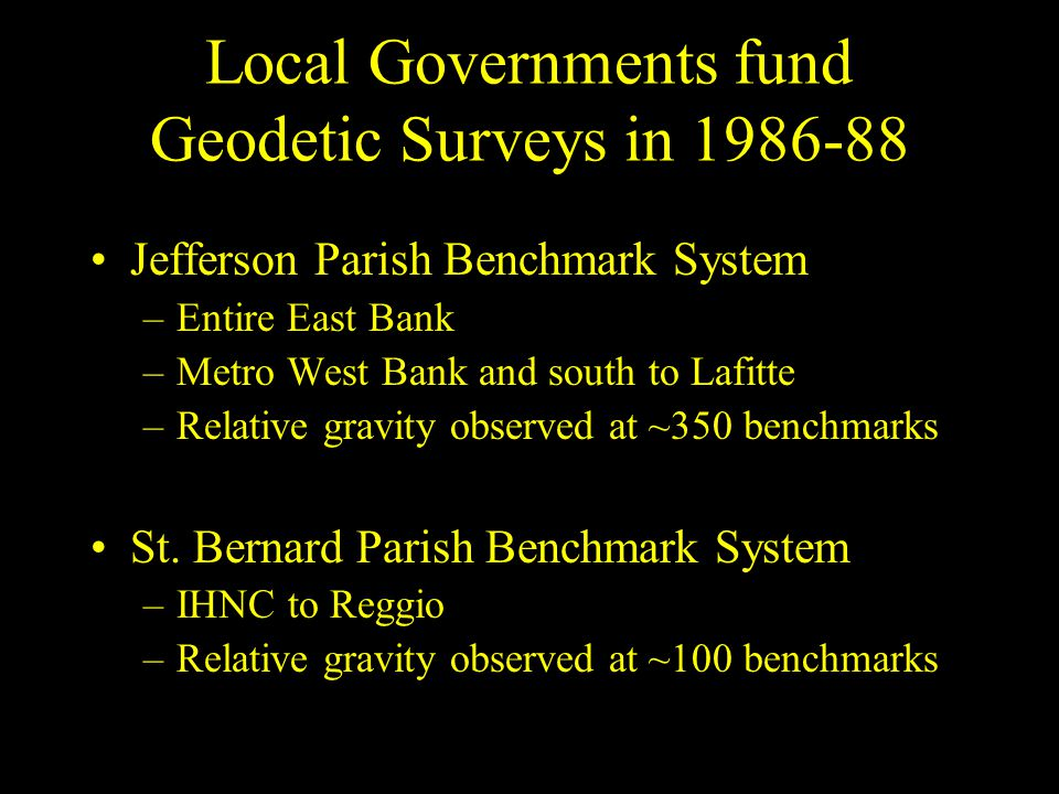 Local Governments fund Geodetic Surveys in 1986-88