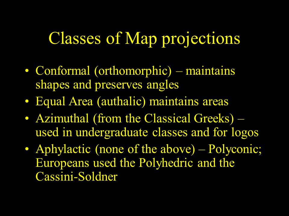 Classes of Map projections