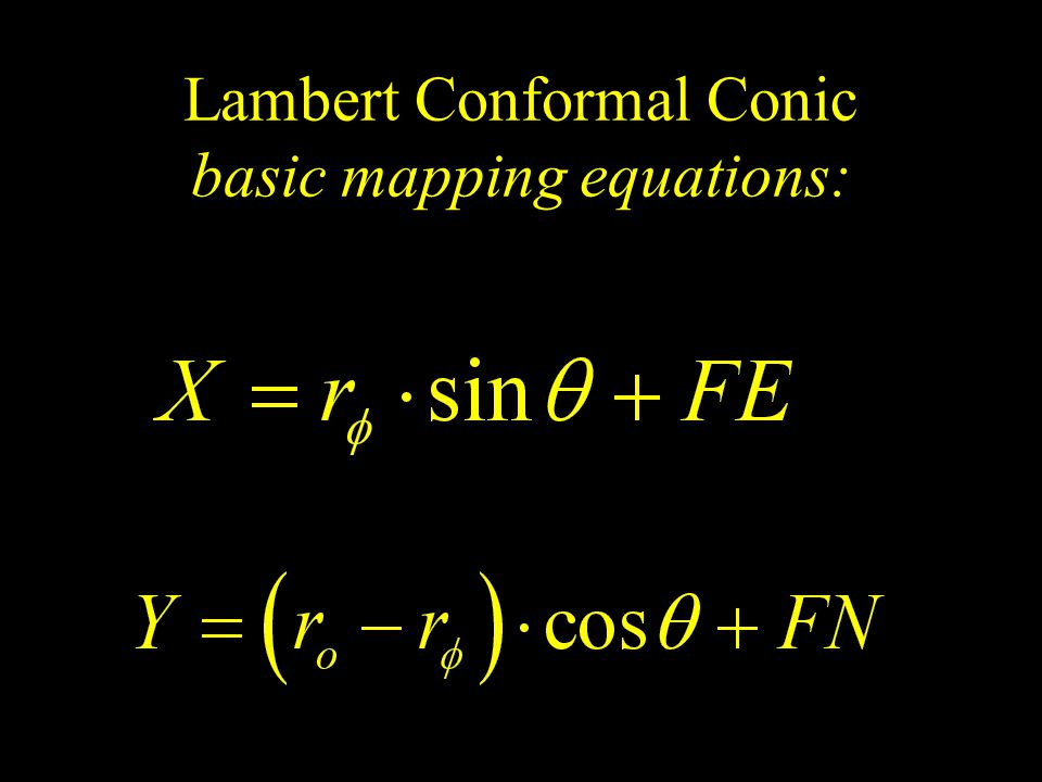 Lambert Conformal Conic basic mapping equations: