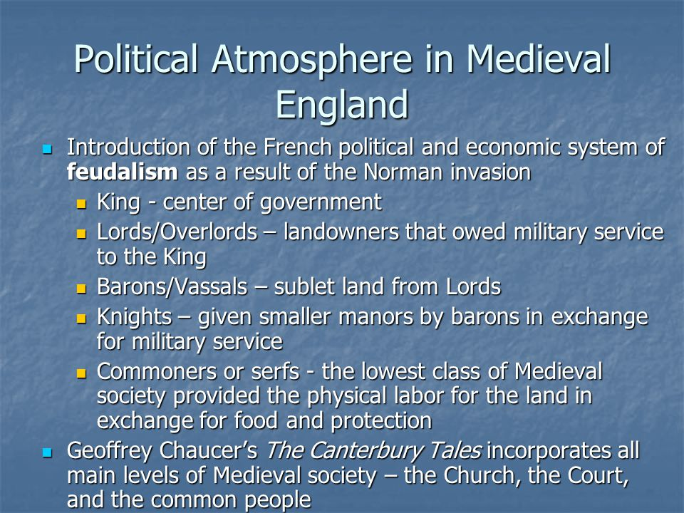 Political Atmosphere in Medieval England