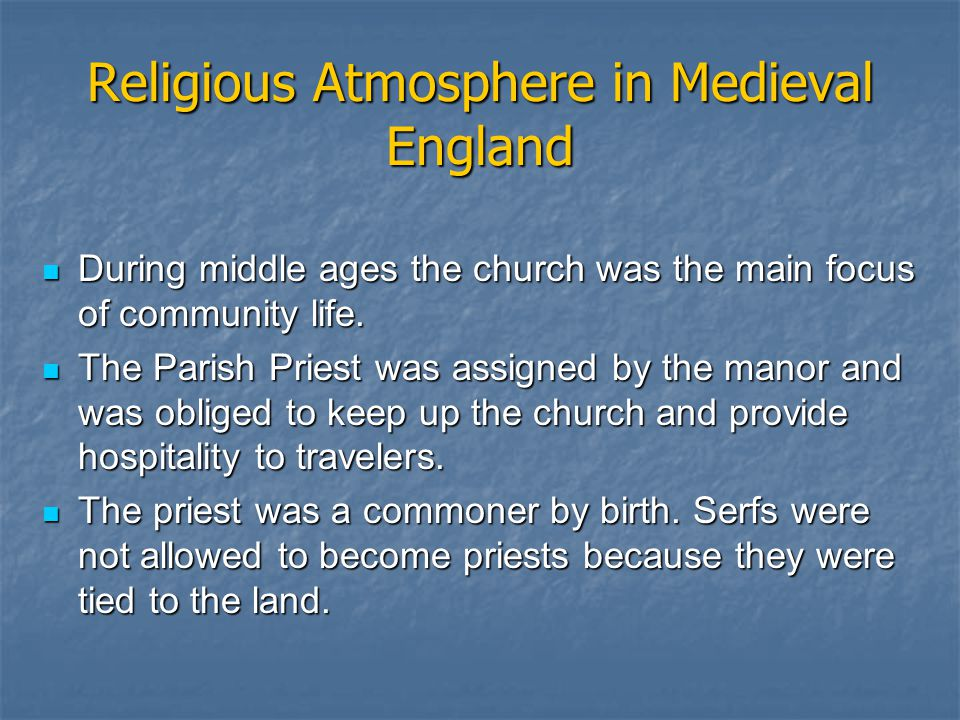 Religious Atmosphere in Medieval England