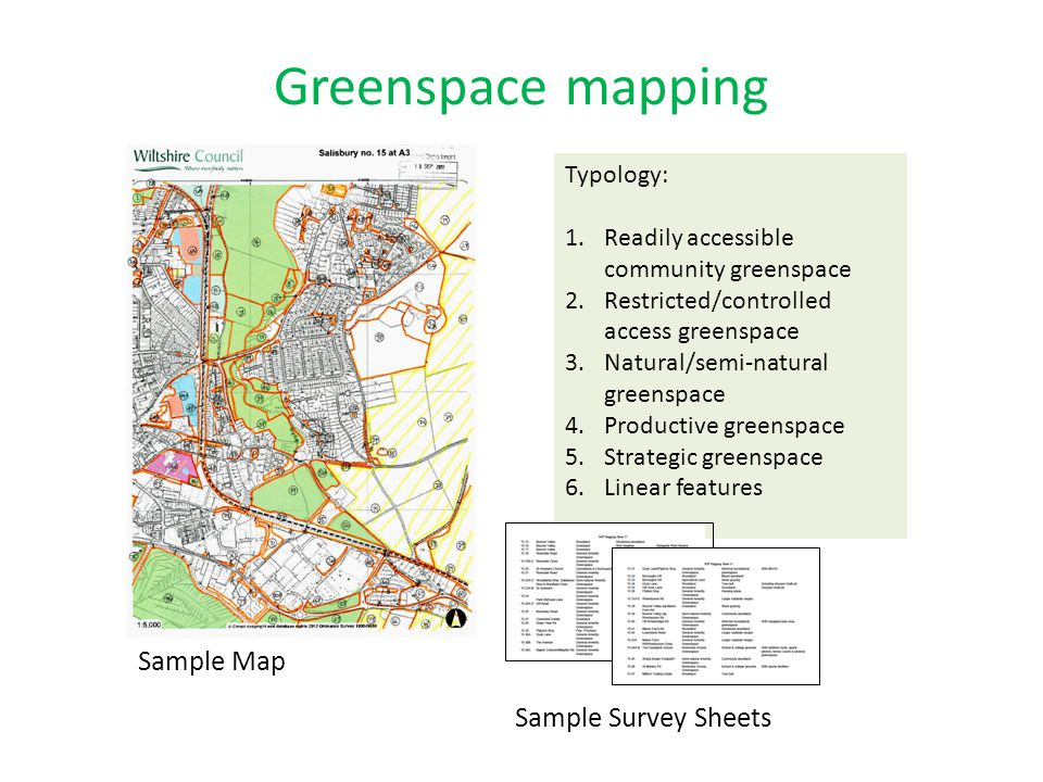Greenspace mapping Sample Map Sample Survey Sheets Typology:
