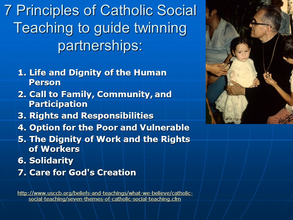 7 Principles of Catholic Social Teaching to guide twinning partnerships: