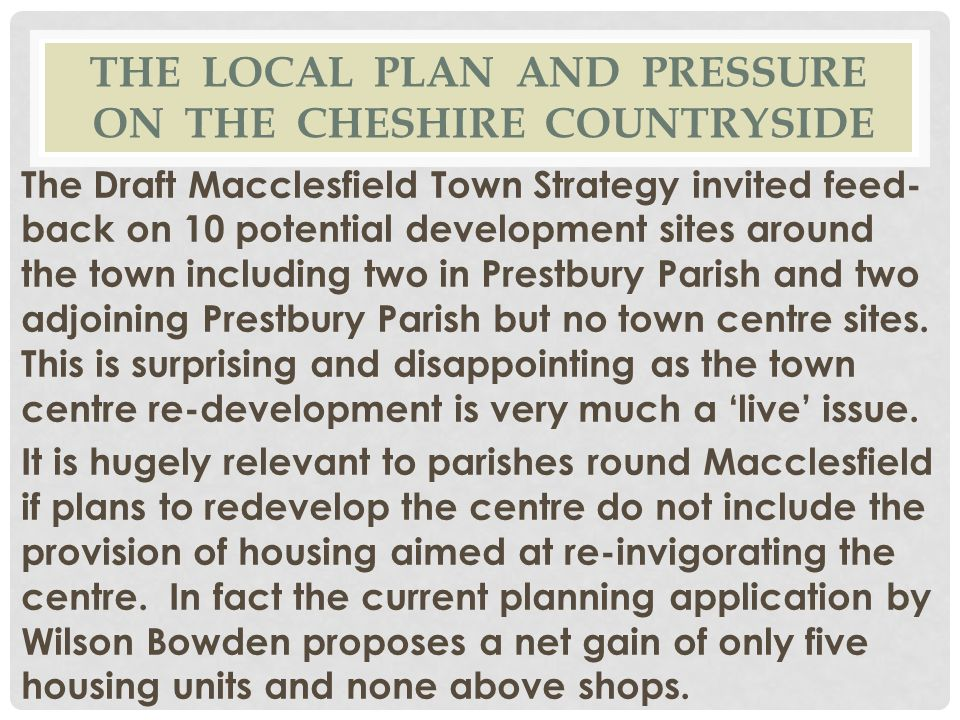 The local plan and pressure on the cheshire countryside
