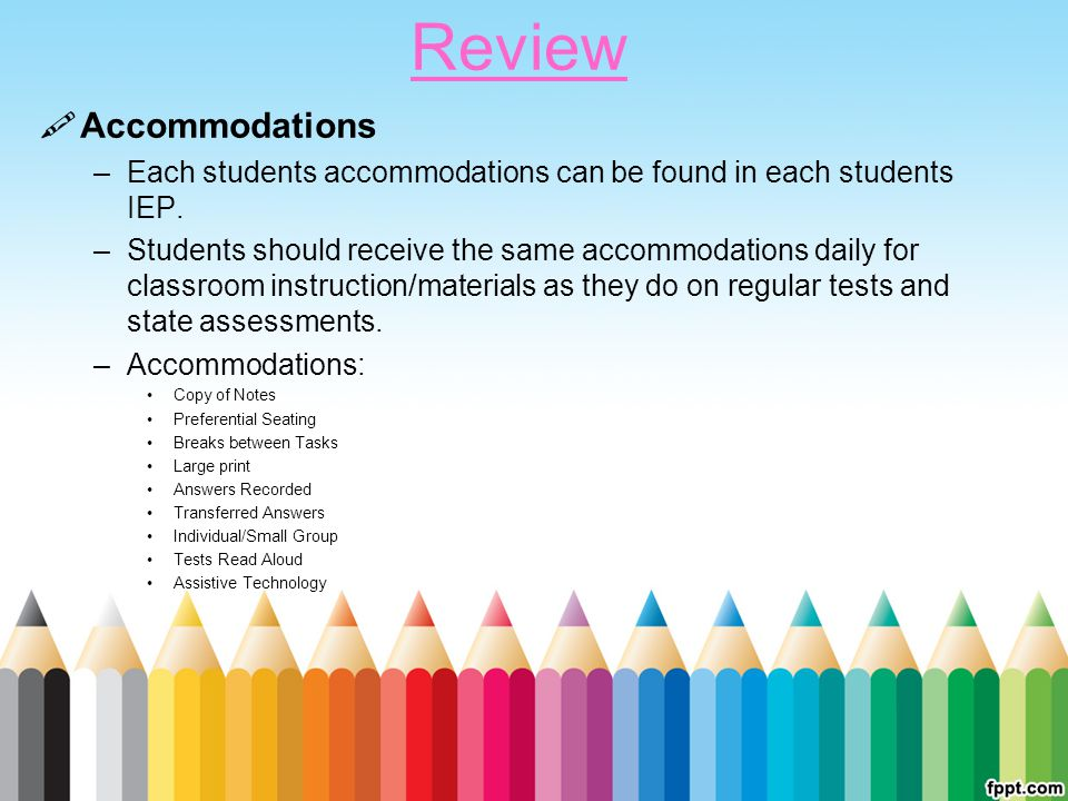 Review Accommodations