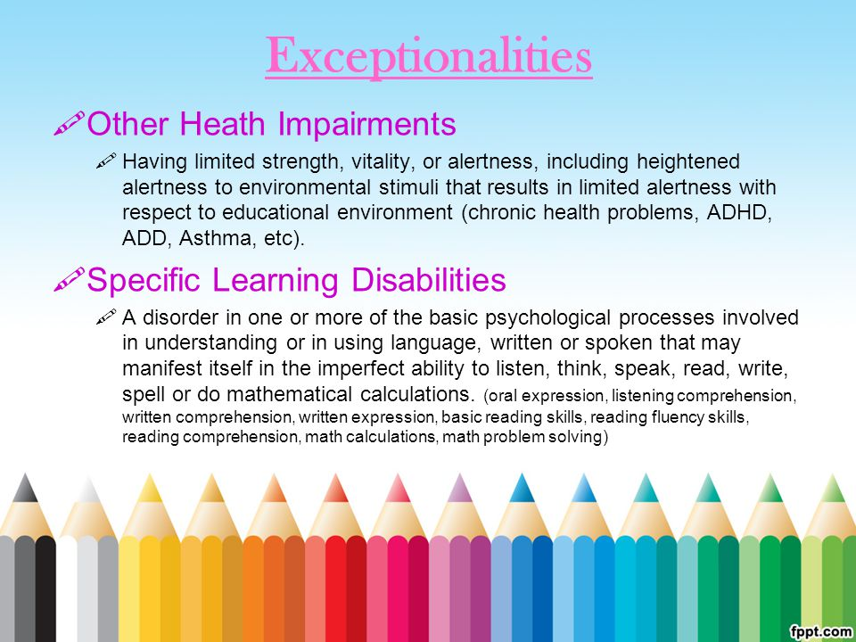 Exceptionalities Other Heath Impairments