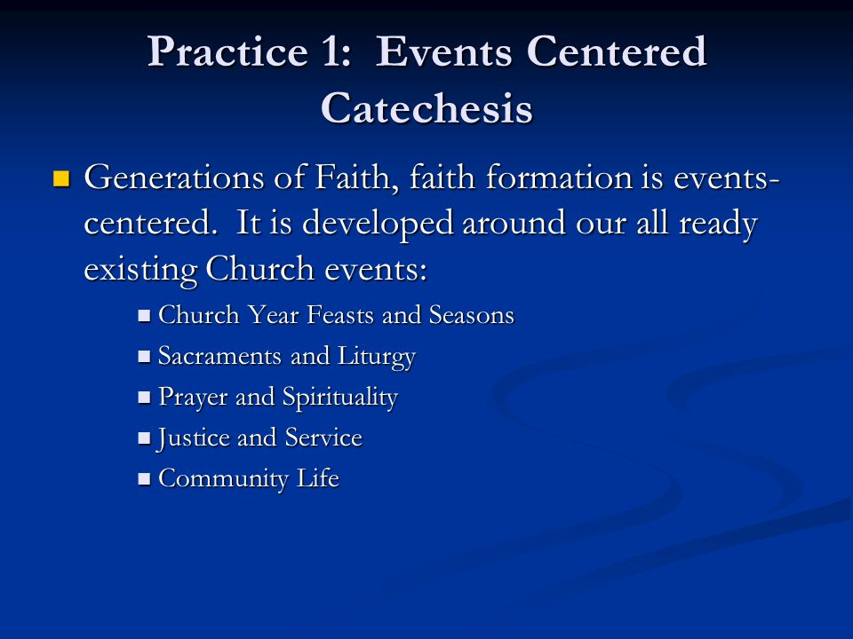 Practice 1: Events Centered Catechesis