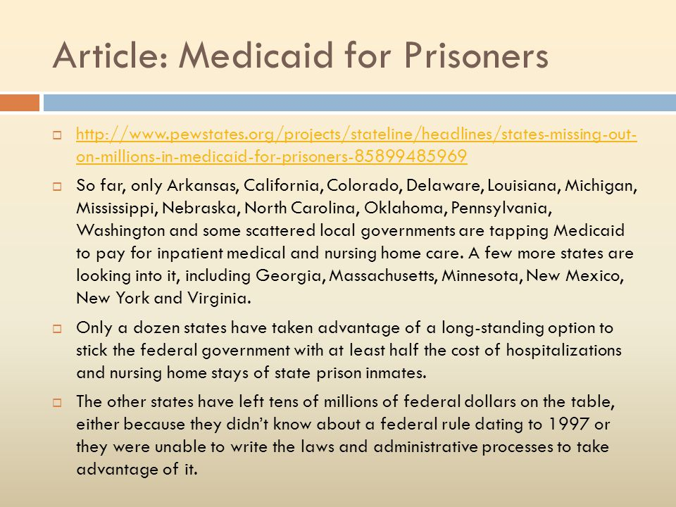Article: Medicaid for Prisoners