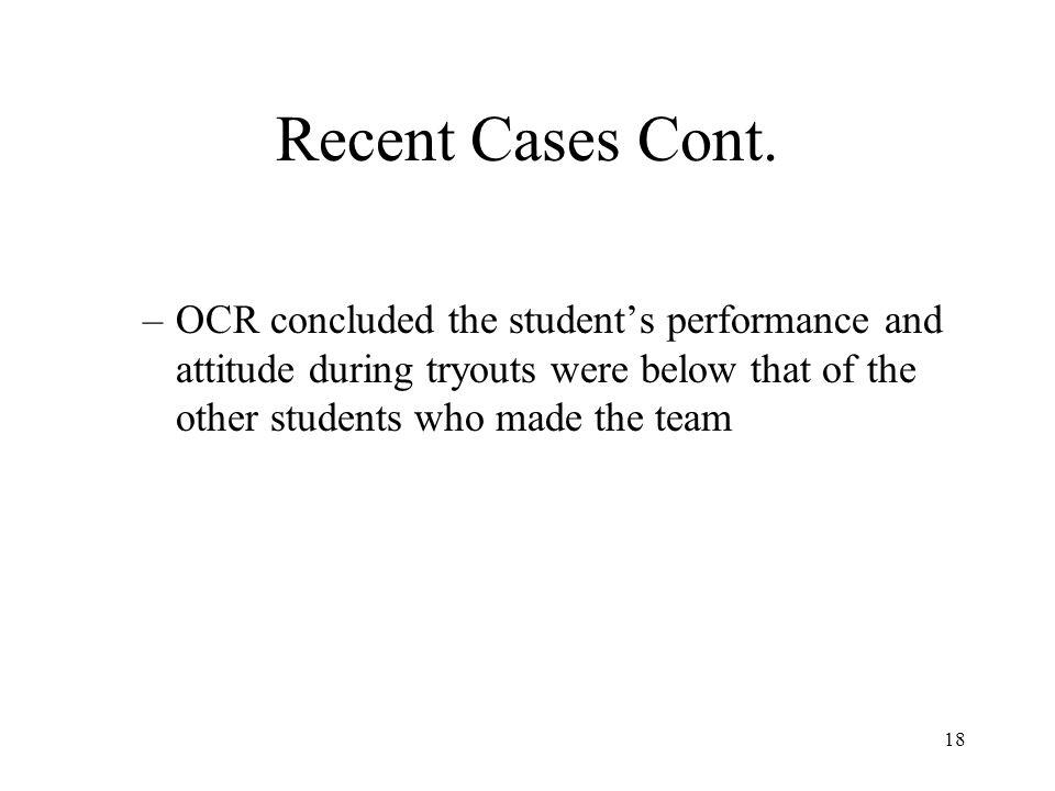 Recent Cases Cont.