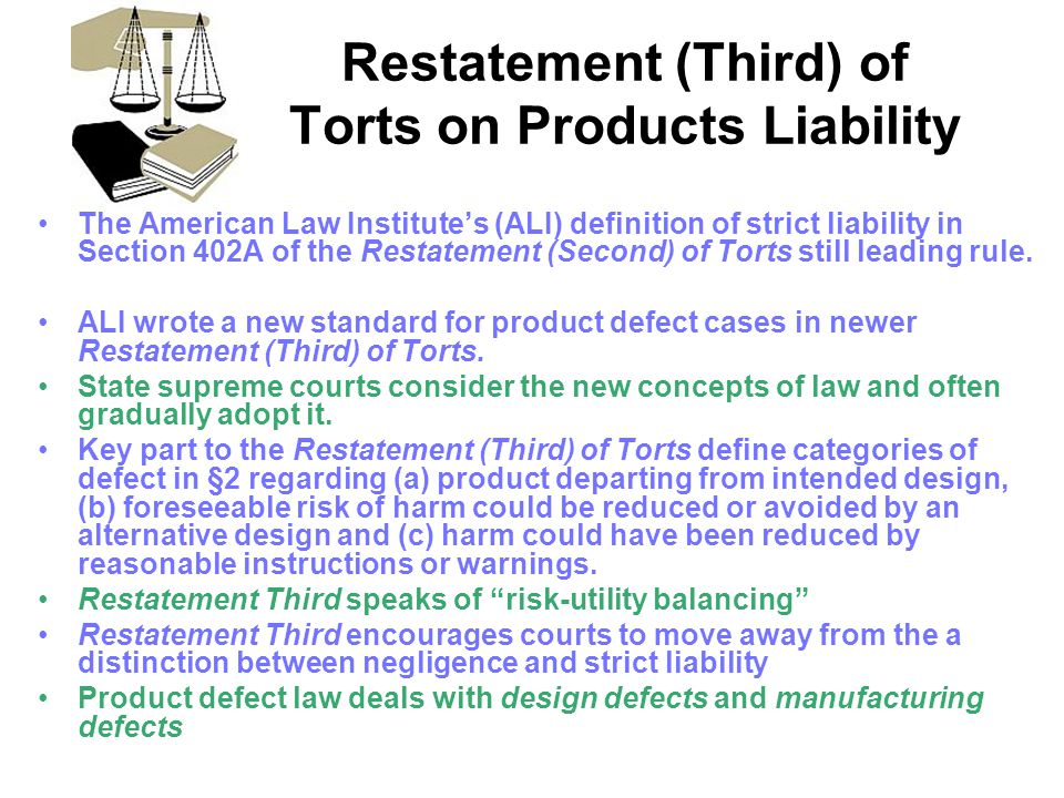 Restatement (Third) of Torts on Products Liability