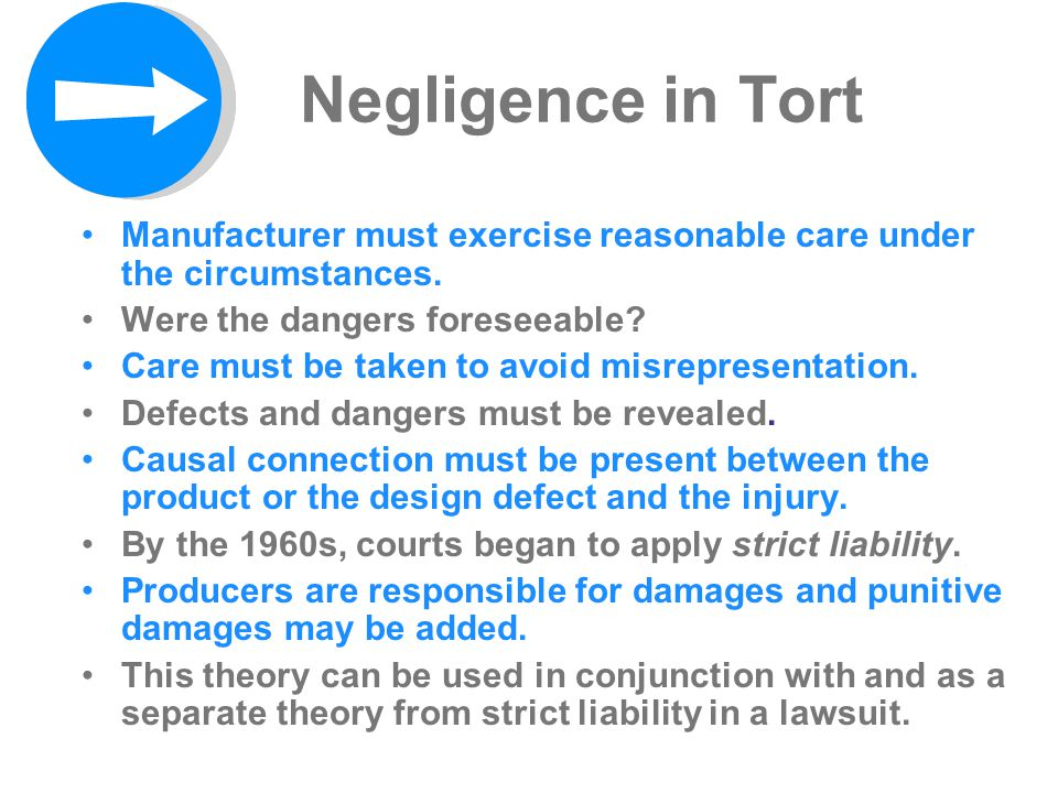 Negligence in Tort Manufacturer must exercise reasonable care under the circumstances. Were the dangers foreseeable