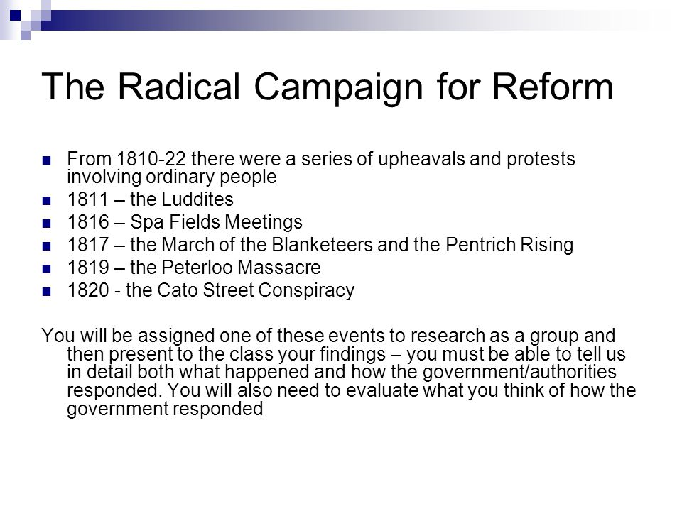 The Radical Campaign for Reform