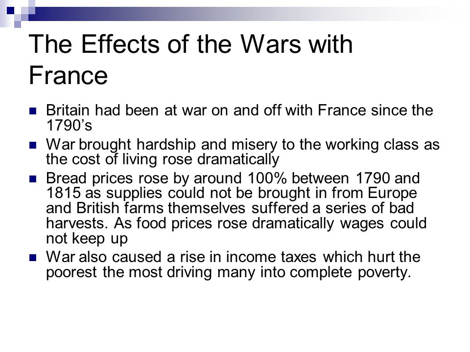 The Effects of the Wars with France