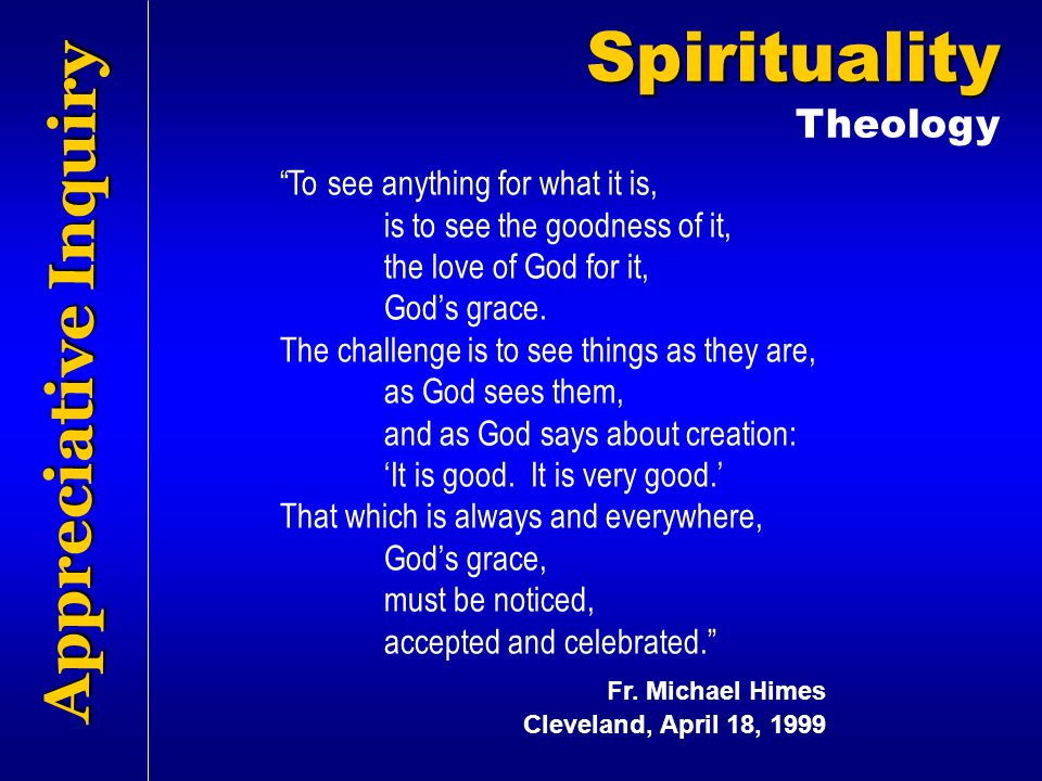Spirituality Appreciative Inquiry Theology
