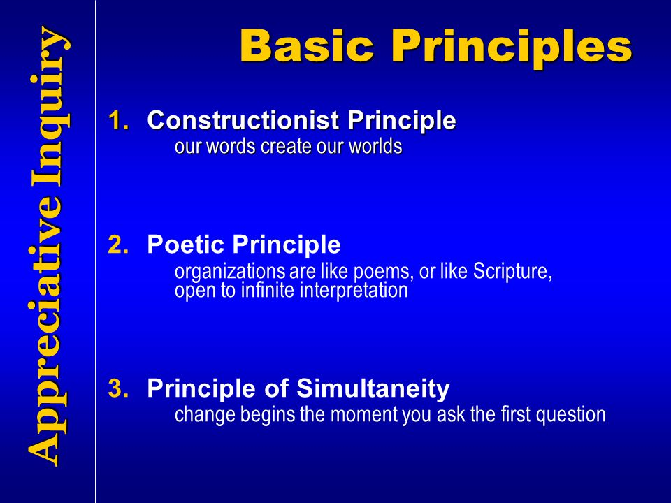 Basic Principles Appreciative Inquiry Constructionist Principle