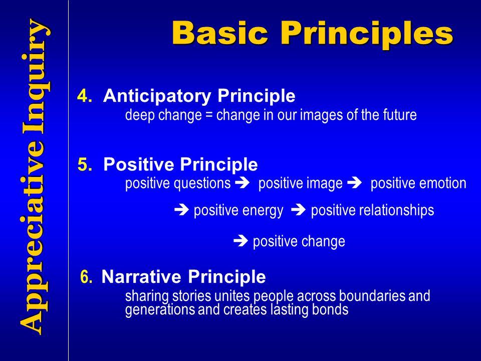 Basic Principles Appreciative Inquiry 4. Anticipatory Principle