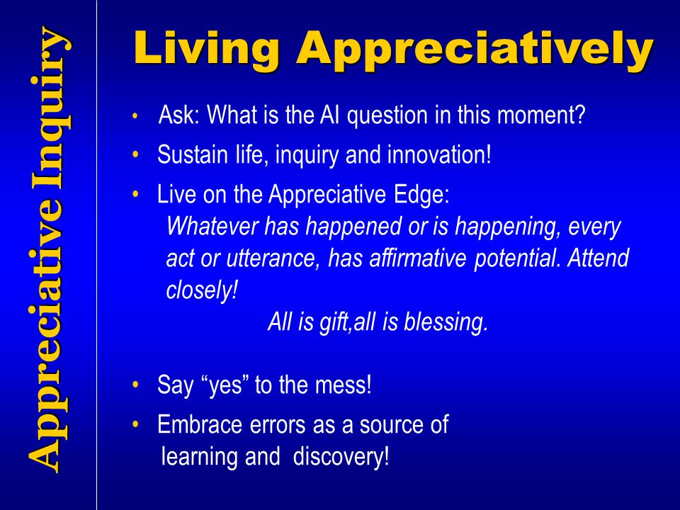 Living Appreciatively