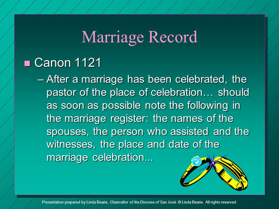 Marriage Record Canon 1121.