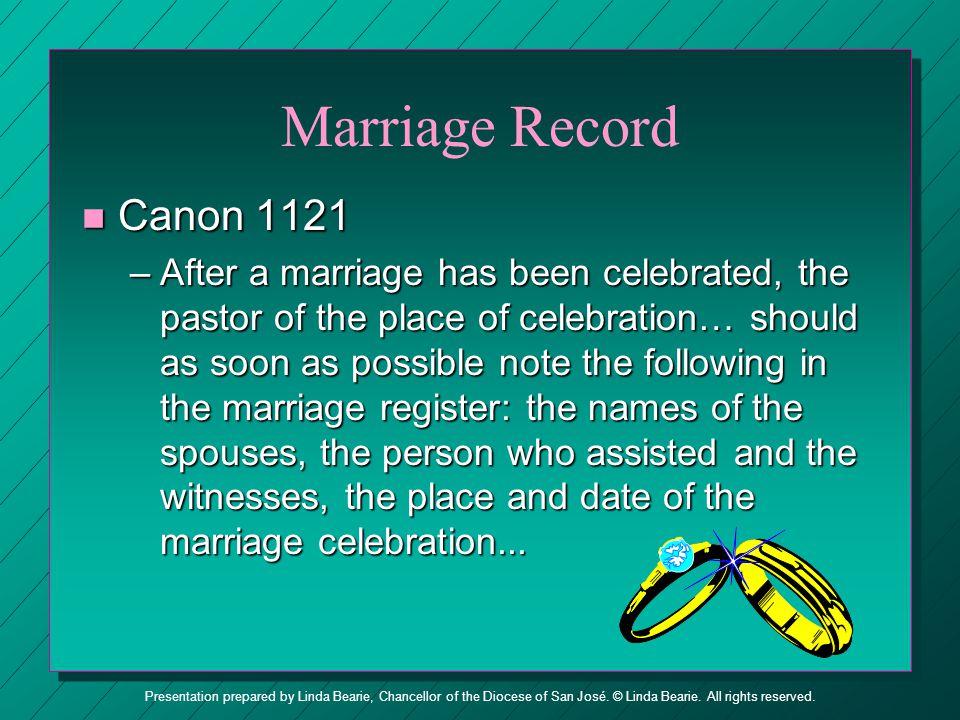 Marriage Record Canon 1121.