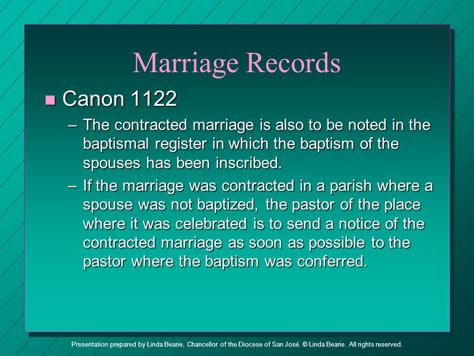 Marriage Records Canon 1122