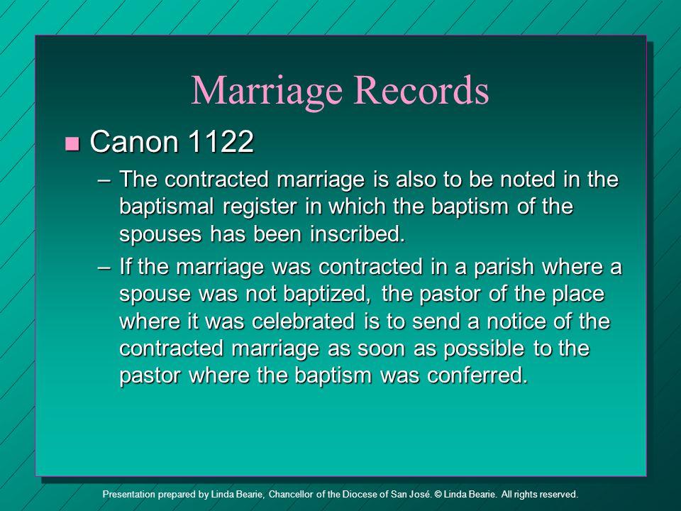 Marriage Records Canon 1122