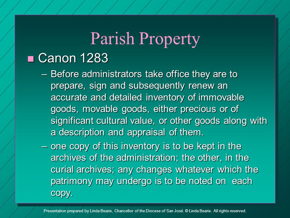 Parish Property Canon 1283.