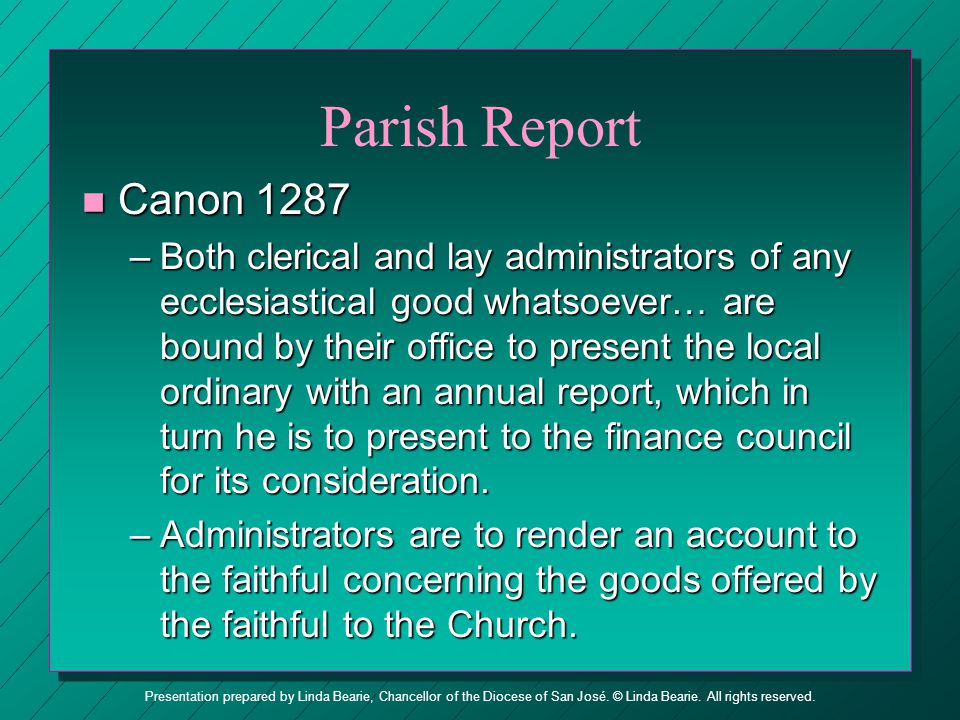 Parish Report Canon 1287.