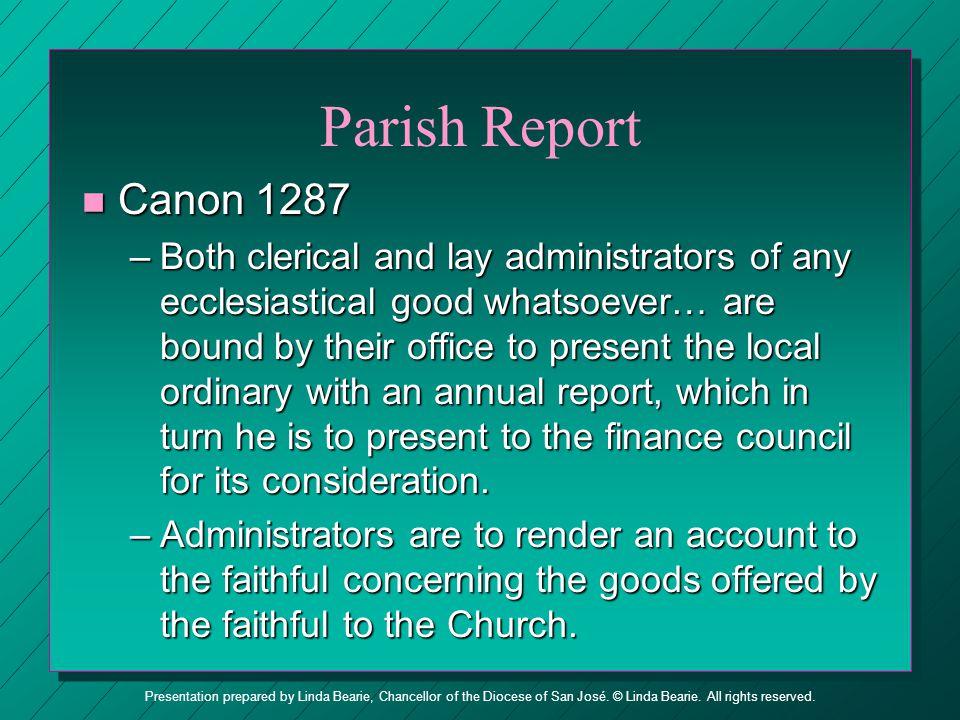 Parish Report Canon 1287.