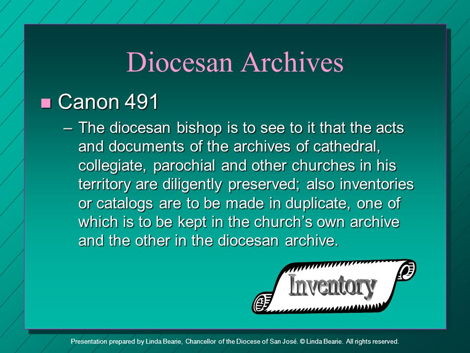 Diocesan Archives Inventory Canon 491