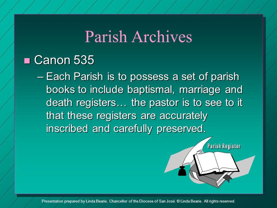 Parish Archives Canon 535.
