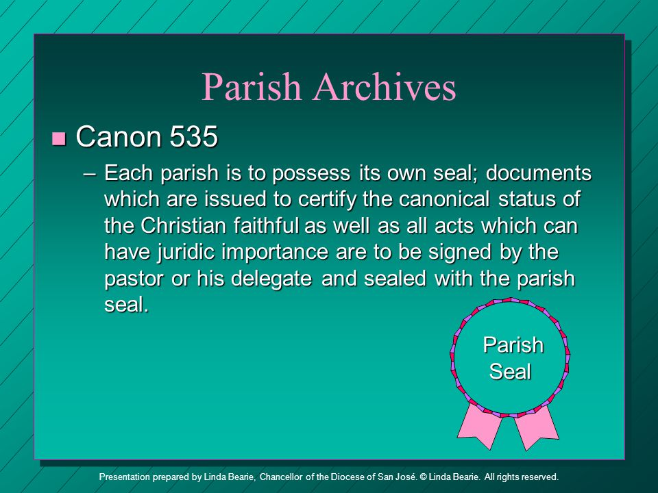 Parish Archives Canon 535.