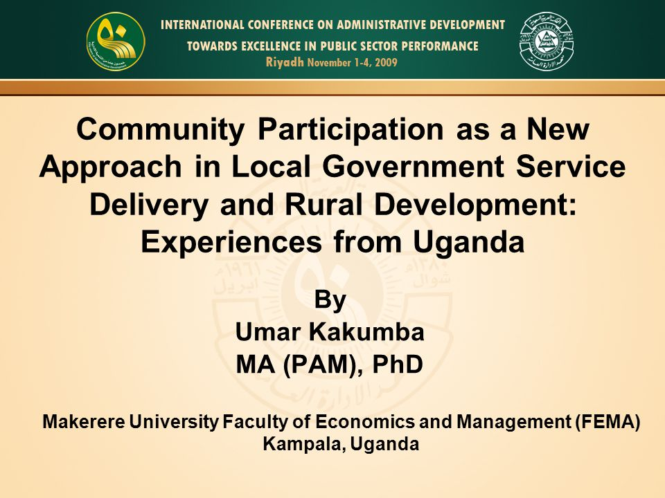By Umar Kakumba MA (PAM), PhD