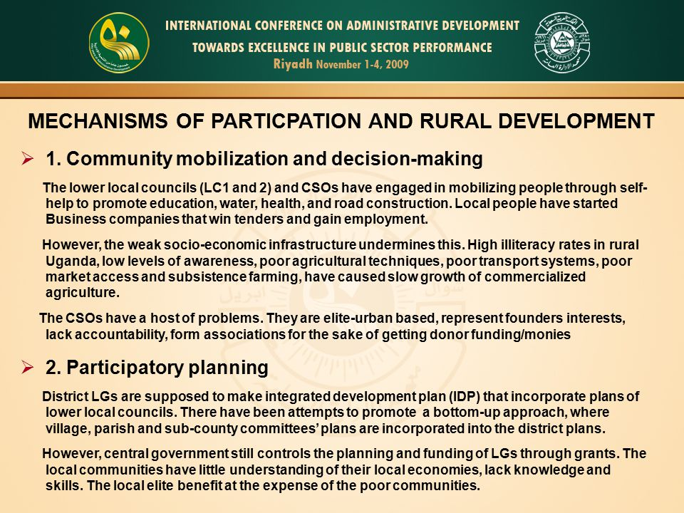 MECHANISMS OF PARTICPATION AND RURAL DEVELOPMENT