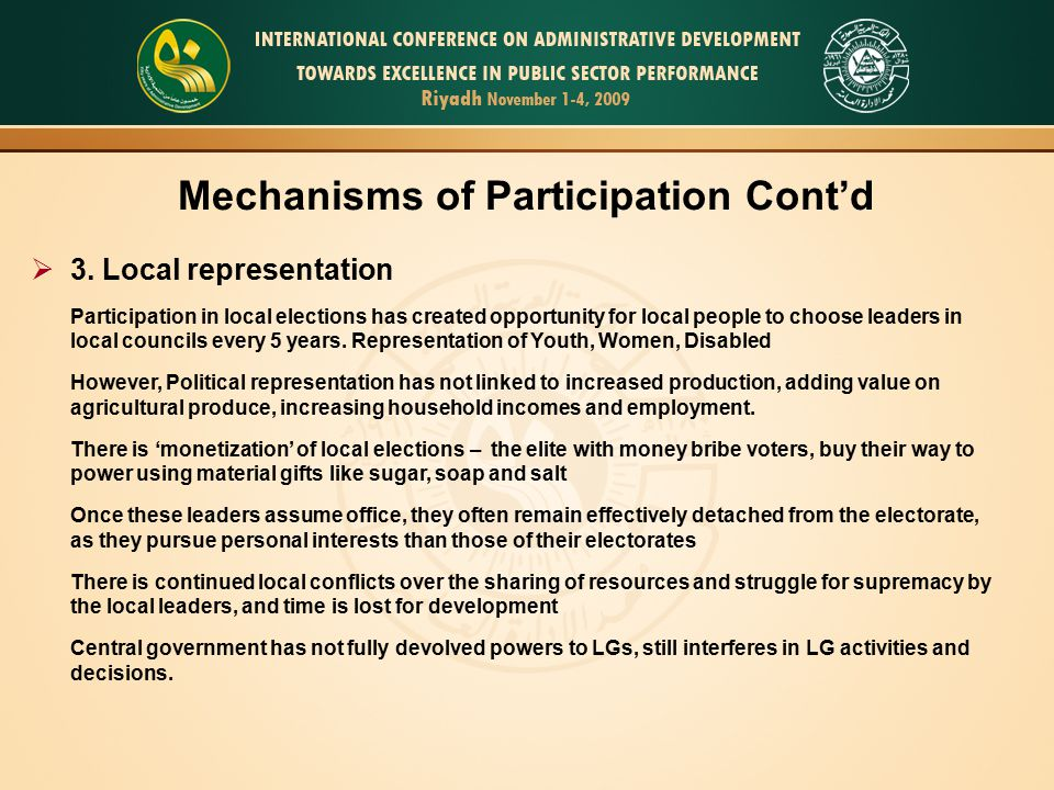 Mechanisms of Participation Cont'd
