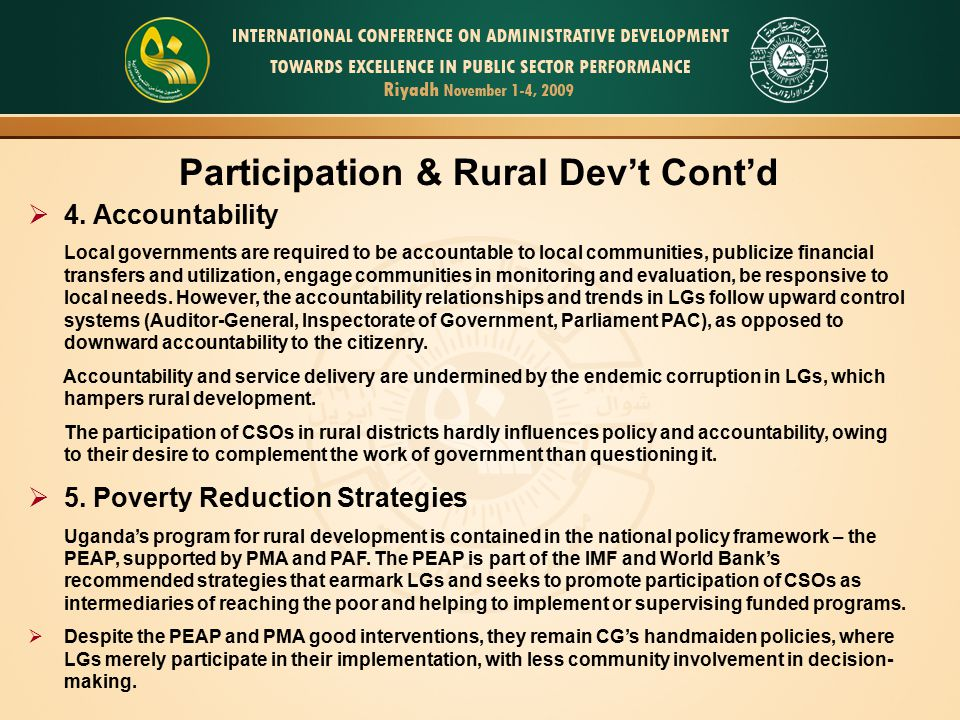 Participation & Rural Dev't Cont'd