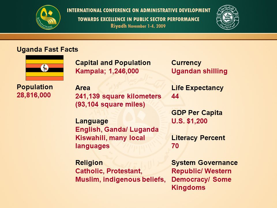 Uganda Fast Facts Population 28,816,000. Capital and Population Kampala; 1,246,000.