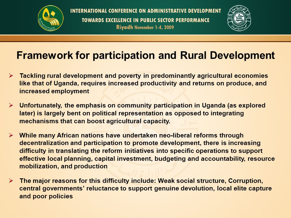Framework for participation and Rural Development