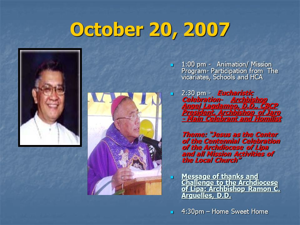October 20, 2007 1:00 pm - Animation/ Mission Program- Participation from The vicariates, Schools and HCA.