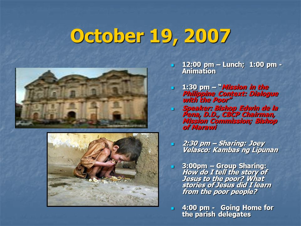 October 19, 2007 12:00 pm – Lunch; 1:00 pm - Animation