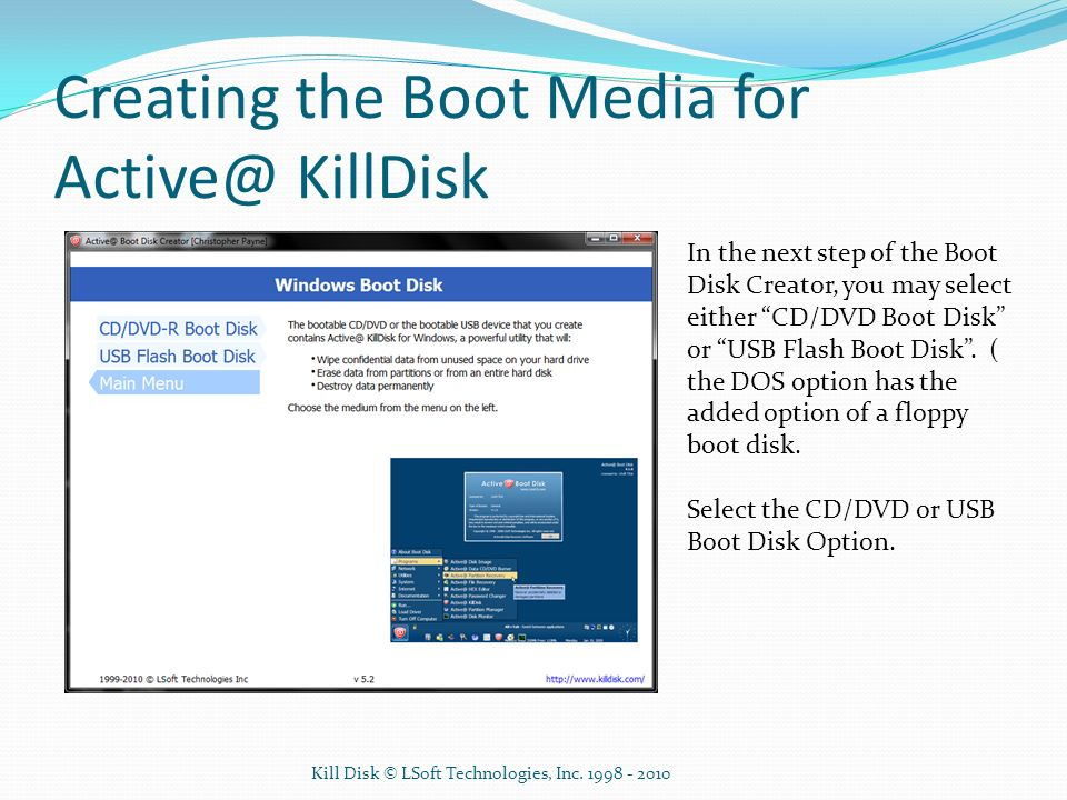 Creating the Boot Media for Active@ KillDisk
