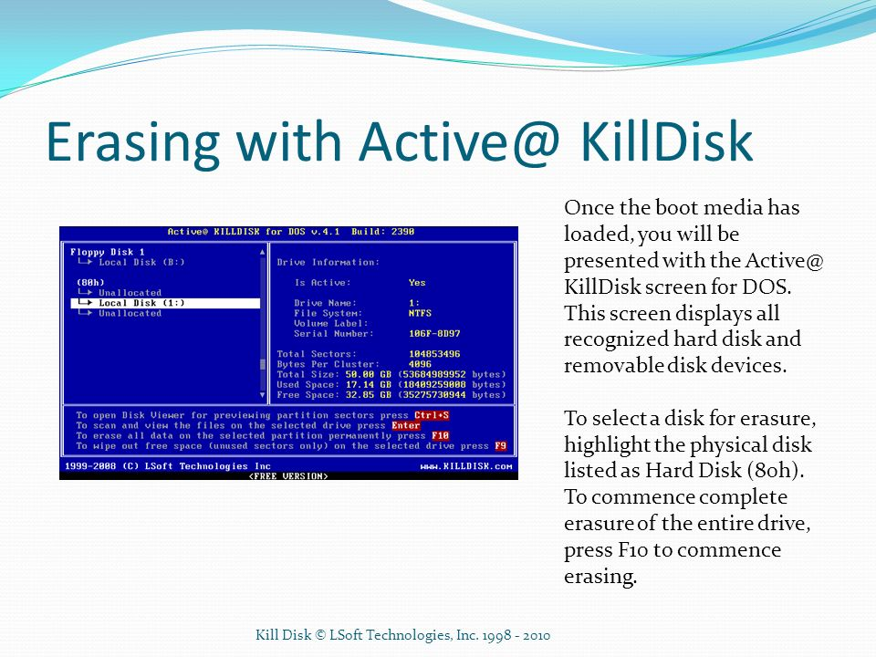 Erasing with Active@ KillDisk