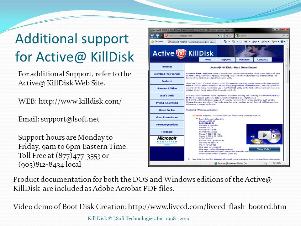 Additional support for Active@ KillDisk
