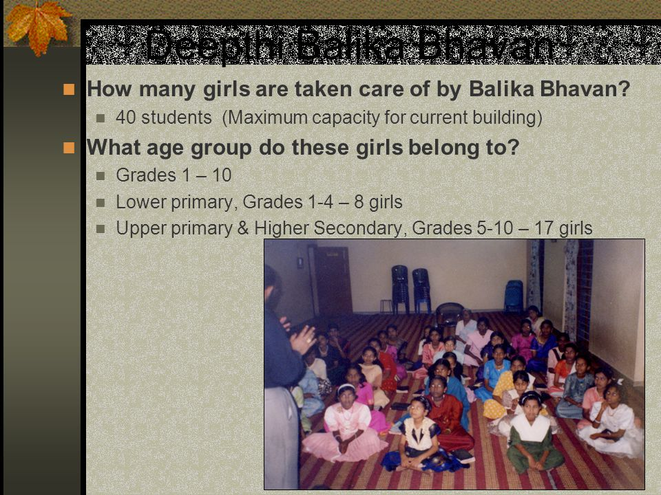 Deepthi Balika Bhavan How many girls are taken care of by Balika Bhavan 40 students (Maximum capacity for current building)