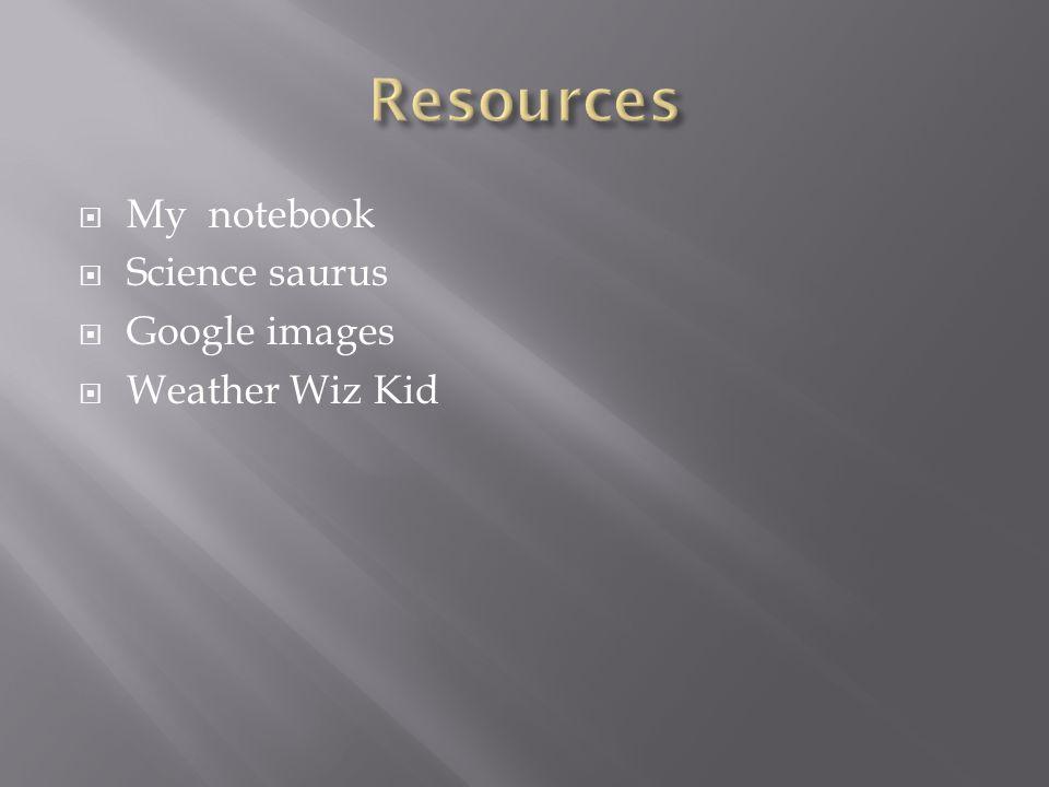 Resources My notebook Science saurus Google images Weather Wiz Kid