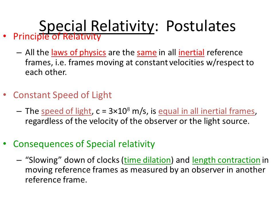 Special Relativity: Postulates