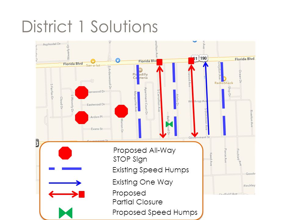District 1 Solutions Proposed All-Way STOP Sign Existing Speed Humps